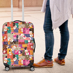 Snowman Colorful Theme Pattern Luggage Covers