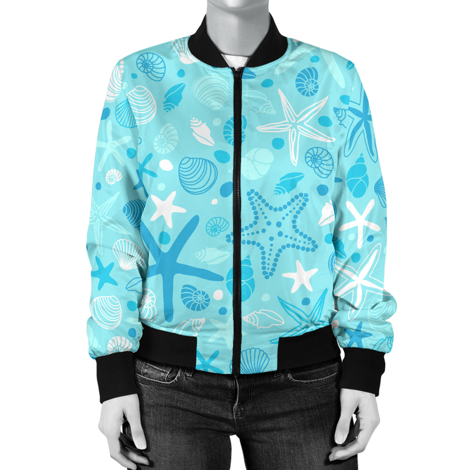 Starfish Shell Blue Theme Pattern Women Bomber Jacket