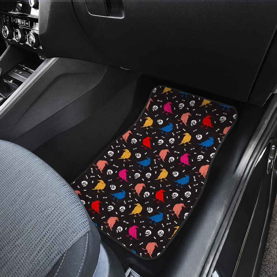 Colorful Crow Pattern Front Car Mats