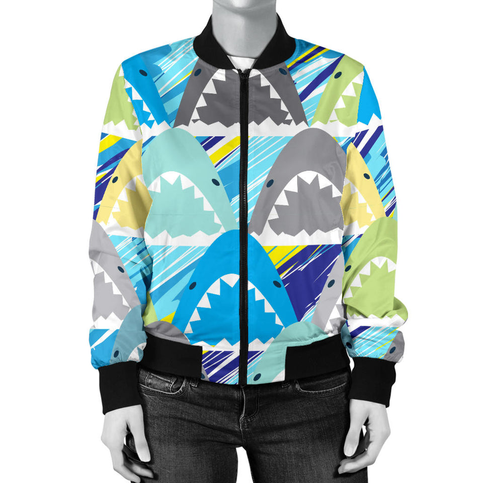 Shark Head Pattern Women Bomber Jacket