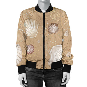 Shell Pattern Sand Women Bomber Jacket