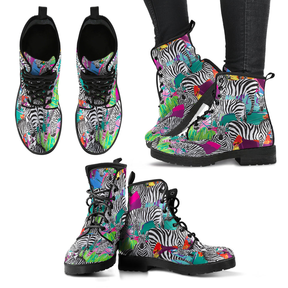 Zebra Colorful Pattern Leather Boots