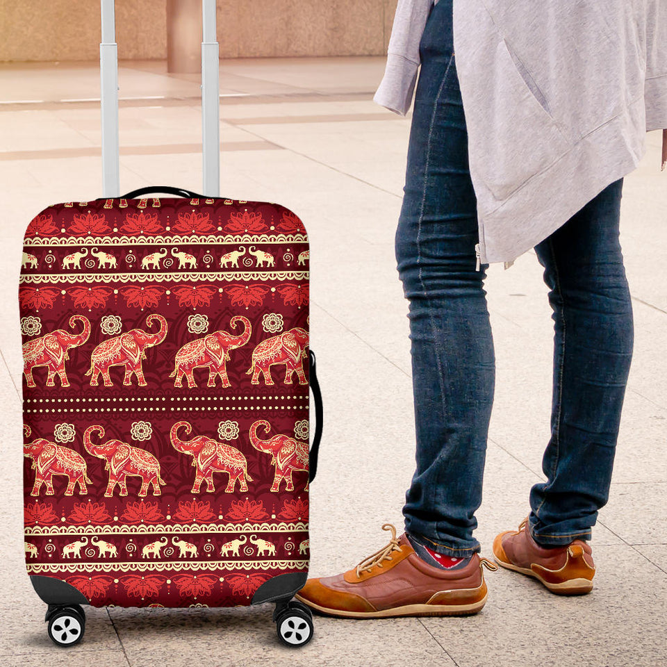 Elephant Red Pattern Ethnic Motifs Luggage Covers