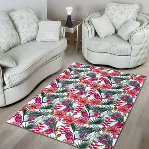 Pink Parrot Heliconia Pattern Area Rug
