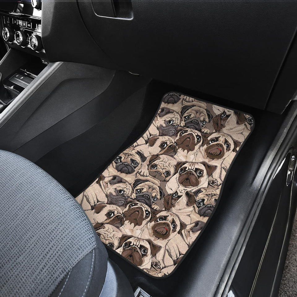 Pug Pattern Background Front Car Mats