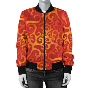 Flame Fire Pattern Women Bomber Jacket