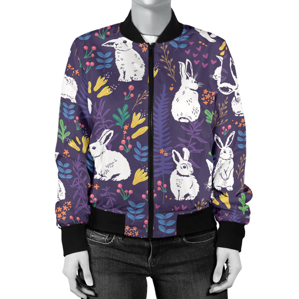 Rabbit Leaves Pattern Women Bomber Jacket