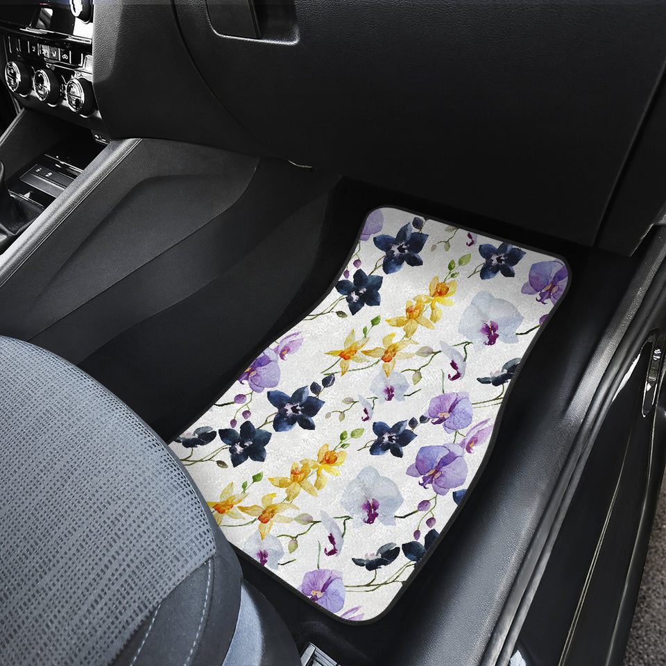 Orchid Pattern Background Front Car Mats