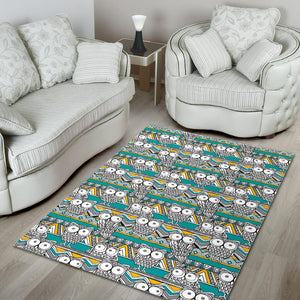 Owl Pattern Green Background Area Rug