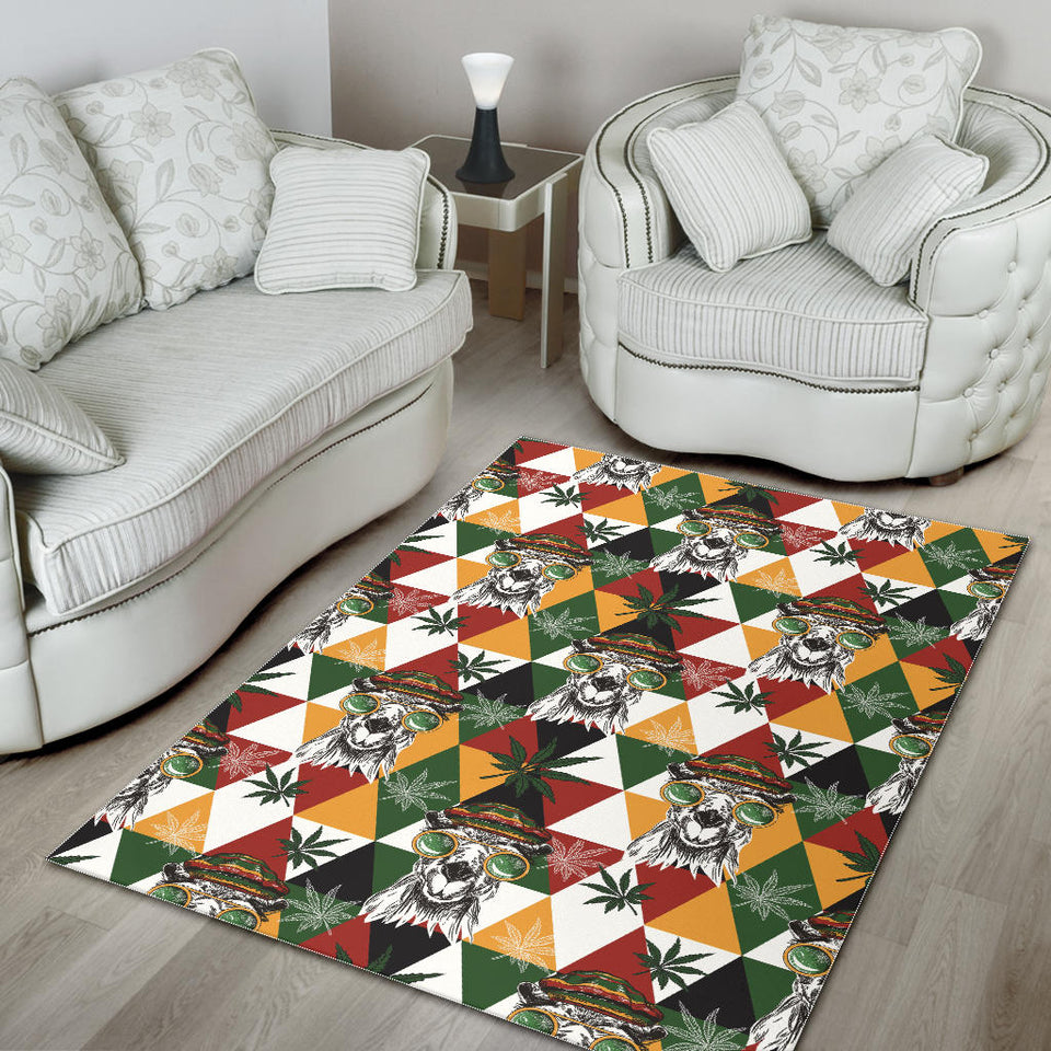 Cool Camel Leaves Pattern Area Rug