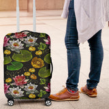 Lotus Waterlily Flower Pattern Background Luggage Covers