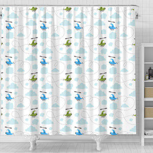 Helicopter Pattern Shower Curtain Fulfilled In US