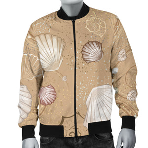 Shell Pattern Sand Men Bomber Jacket