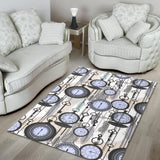 Vintage Clock Pattern Area Rug