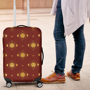 Sun Pattern Red Background Luggage Covers