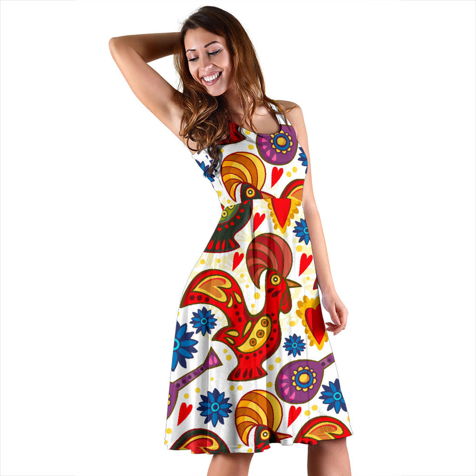 Colorful Rooster Chicken Guitar Pattern Sleeveless Midi Dress