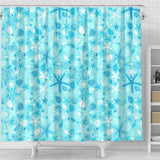 Starfish Shell Blue Theme Pattern Shower Curtain Fulfilled In US