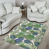 Green Blue Chameleon Lizard Leaves Pattern Area Rug