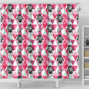 Pug Pattern Shower Curtain Fulfilled In US