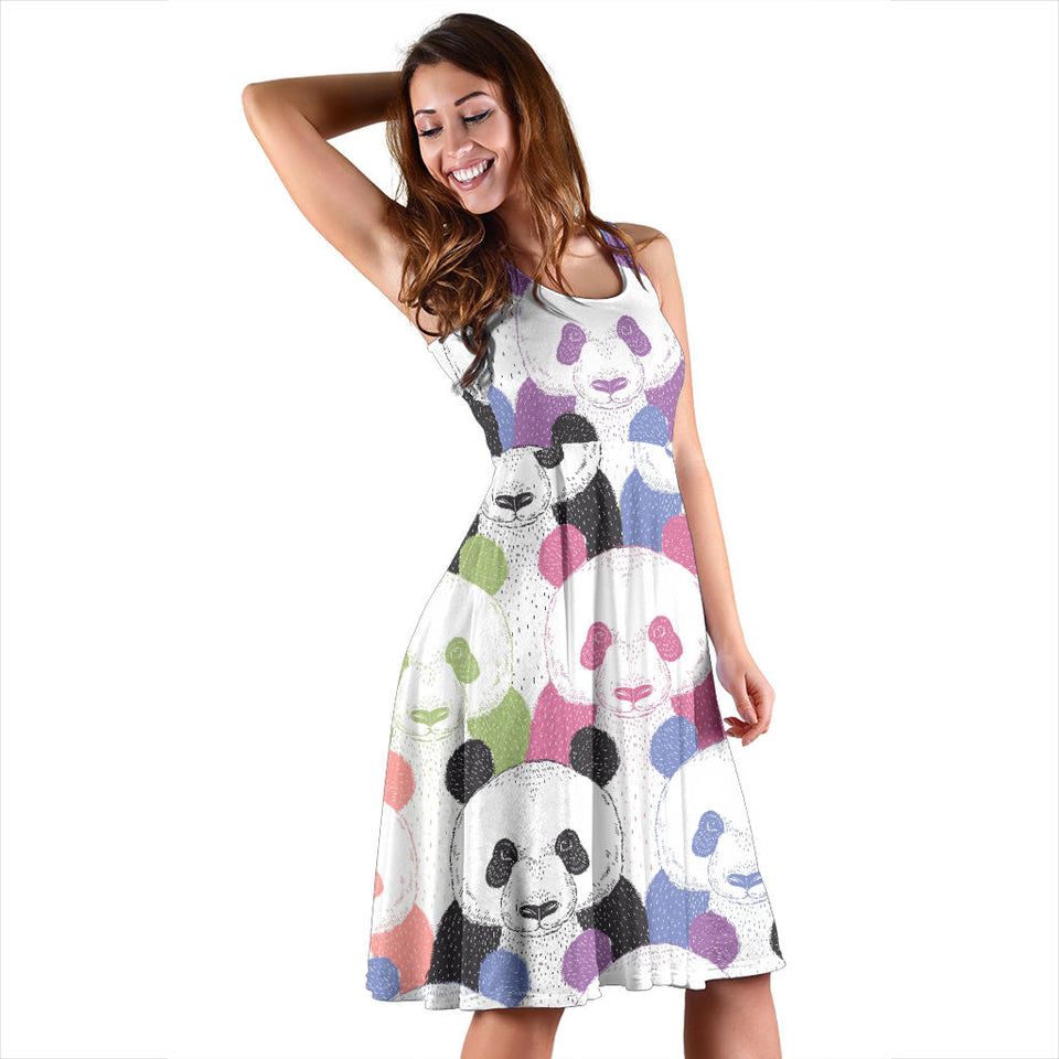 Colorful Panda Pattern Sleeveless Midi Dress