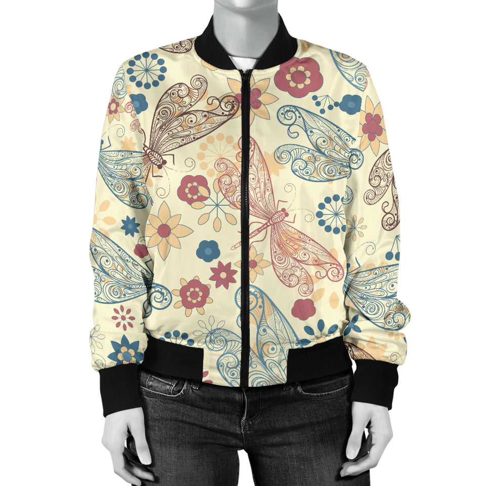 Dragonfly Flower Pattern Women Bomber Jacket