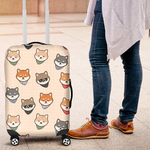Shiba Inu Head Pattern Luggage Covers