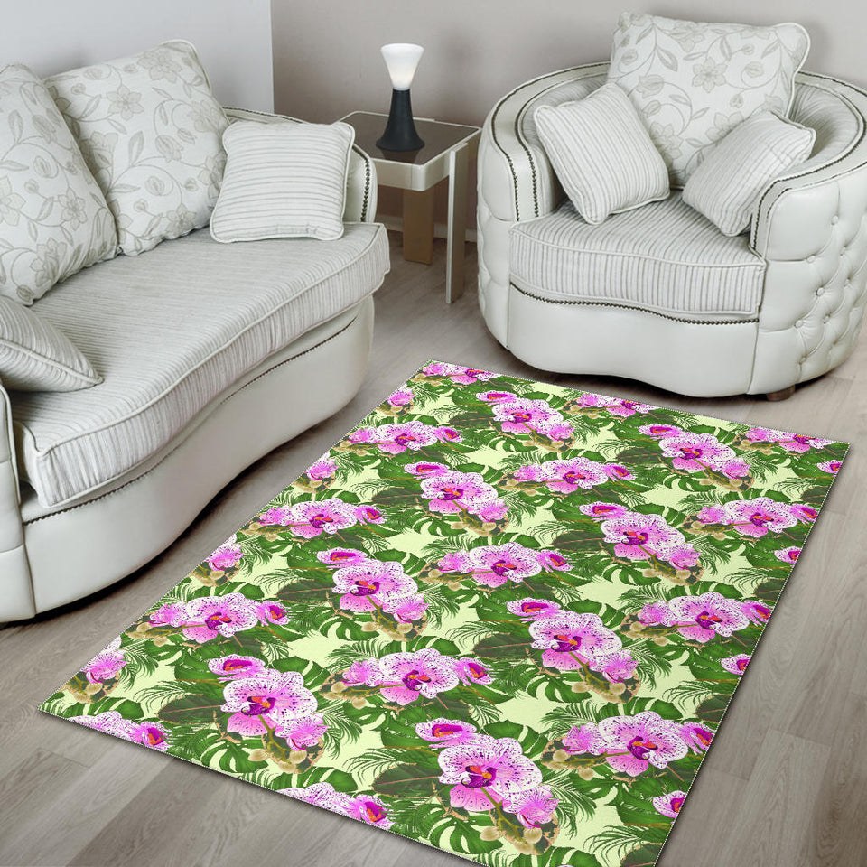 Orchid Leaves Pattern Area Rug