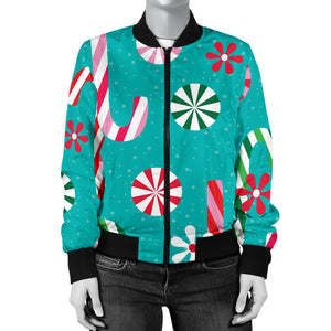 Christmas Candy Pattern Women Bomber Jacket