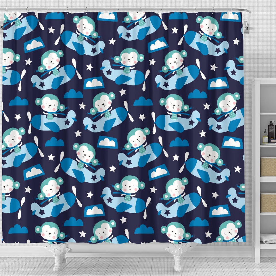 Monkey in Airplane Pattern Shower Curtain Fulfilled In US