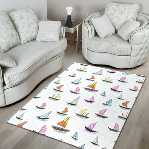 Cute Sailboat Pattern Area Rug