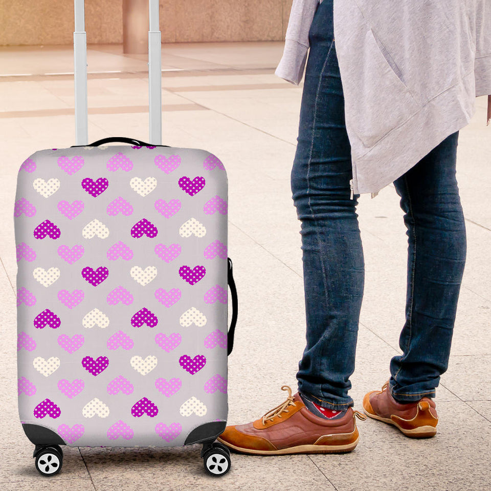 Heart Purple Pokka Dot Pattern Luggage Covers