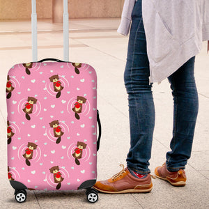 Otter Heart Pattern Pink Luggage Cover