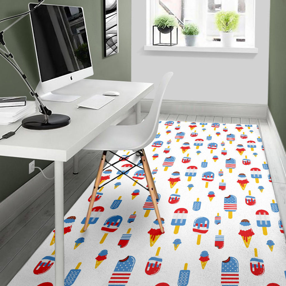 Ice Cream USA Theme Pattern Area Rug