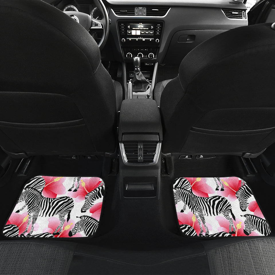 Zebra Red Hibiscus Pattern Front and Back Car Mats