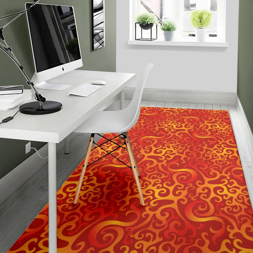 Flame Fire Pattern Area Rug