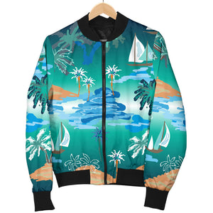 Sailboat Water Color Pattern Women Bomber Jacket