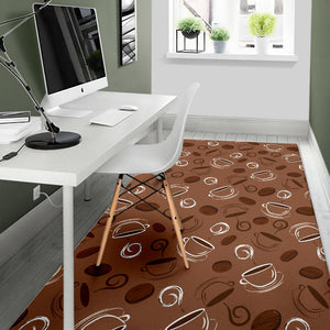 Coffee Cup and Coffe Bean Pattern Area Rug