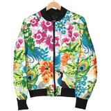Colorful Peacock Pattern Women Bomber Jacket