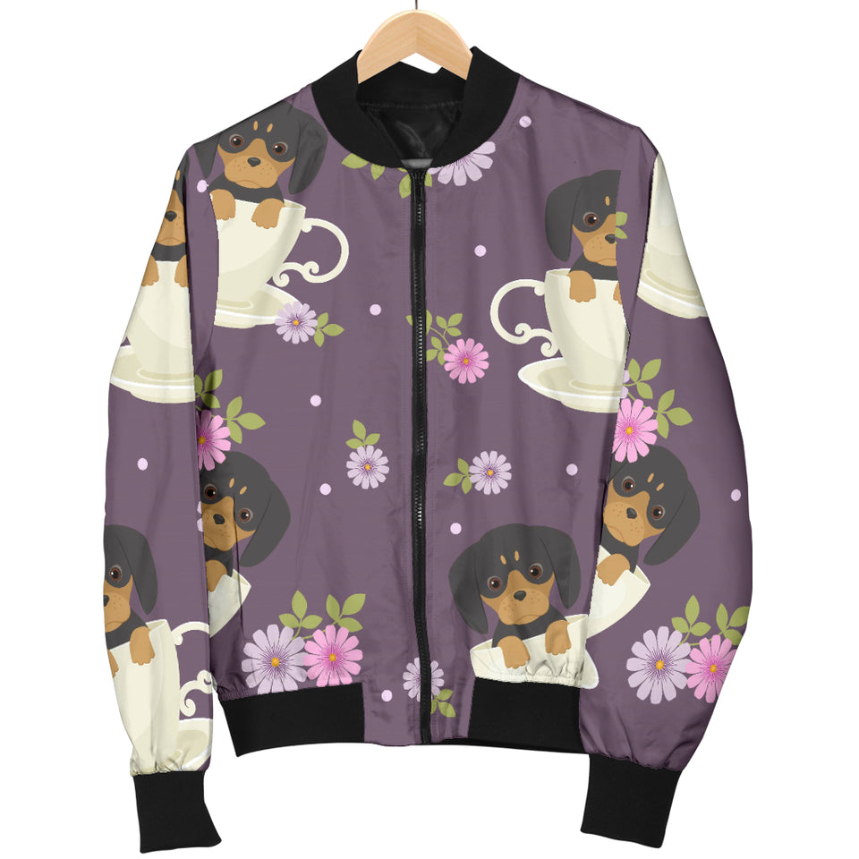 Dachshund in Coffee Cup Flower Pattern Women Bomber Jacket