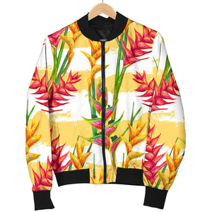 Heliconia Pattern Women Bomber Jacket