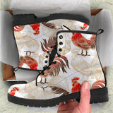 Rooster Chicken Pattern Leather Boots