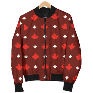 Canadian Maple Leaves Pattern background Women Bomber Jacket