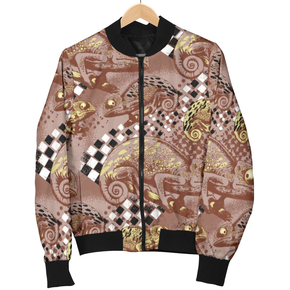 Chameleon Lizard Pattern Women Bomber Jacket