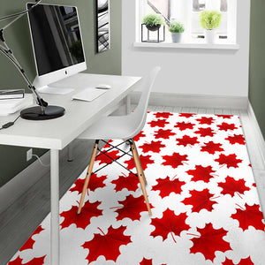 Red Maple Leaves Pattern Area Rug