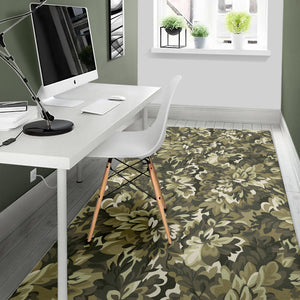 Green Camo Camouflage Flower Pattern Area Rug