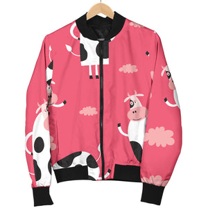 Cow Pattern Pink Background Women Bomber Jacket