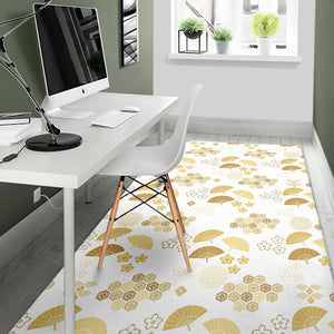 Gold Fan Japanese Pattern Area Rug