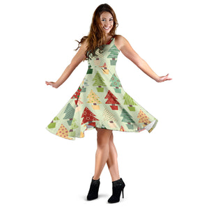Christmas Tree Pattern Backgroind Sleeveless Midi Dress