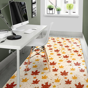 Red and Orange Maple Leaves Pattern Area Rug