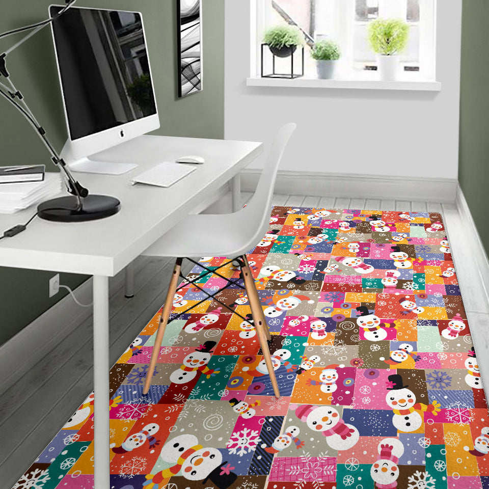 Snowman Colorful Theme Pattern Area Rug